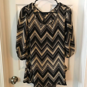 black and tan tunic - cute with leggings - medium